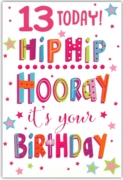 GREETING CARDS,Age 13 Female 6's Text & Stars