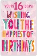 GREETING CARDS,Age 16 Female 6's Multi Coloured Text