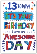 GREETING CARDS,Age 13 Male 6's Text & Stars