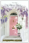 GREETING CARDS,New Home 6's Floral, Pink Front Door