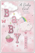 GREETING CARDS,Baby Girl 6's Clouds & Rainbow