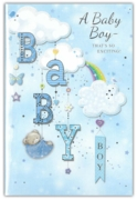 GREETING CARDS,Baby Boy 6's Clouds & Rainbow
