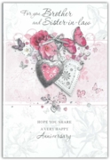 GREETING CARDS,Brother & Sis. in Law 6's Floral Hearts
