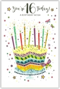 GREETING CARDS,Age 16 Female 6's Cake & Candles