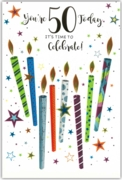 GREETING CARDS,Age 50 Unisex 6's Candles