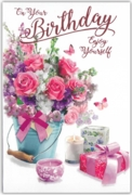 GREETING CARDS,Birthday 6's Floral Candles