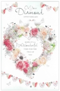 GREETING CARDS,Your Diamond Anni.6's Floral Heart & Doves