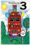 GREETING CARDS,Age 3 Male 6's Birthday Bus