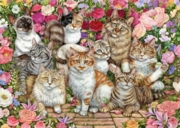 JIGSAW,1000pc.Floral Cats (Jumbo)
