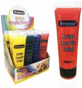 ACRYLIC PAINT,150ml 4 Asst Col H/pk Tubes in CDU