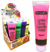 ACRYLIC PAINT,150ml 6 Assorted Neon Col, H/pk Tubes in CDU
