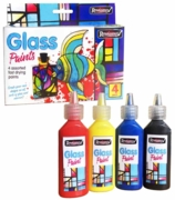 GLASS PAINTS, 4 x 22ml Asst. Colours, Fast Drying,H/pk Box.