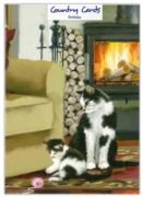 GREETING CARDS,Birthday 6's Cat with Kitten, Lounge Fire