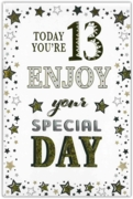 GREETING CARDS,Age 13 Male 12's Stars & Text