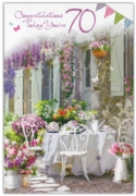 GREETING CARDS,Age 70 Female 12's Floral Garden
