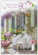 GREETING CARDS,Age 90 Female 12's Floral Garden