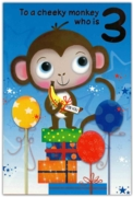 GREETING CARDS,Age 3 Male 12's Monkey