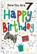 GREETING CARDS,Age 7 Male 12's Stars & Text