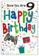 GREETING CARDS,Age 9 Male 12's Stars & Text