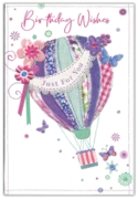 GREETING CARDS,Birthday 6's Floral Hot Air Balloon