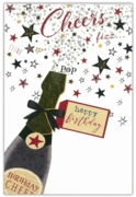 GREETING CARDS,Birthday 6's Bottle of Bubbly & Stars