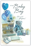 GREETING CARDS,Baby Boy 6's Teddy Bear & Balloons