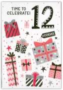 GREETING CARDS,Age 12 Female 12's Stars & Text