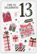 GREETING CARDS,Age 13 Female 12's Stars & Text