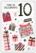 GREETING CARDS,Age 10 Female 12's Stars & Text