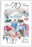 GREETING CARDS,Age 70 Female 6's Floral Kitchen