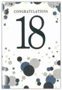 GREETING CARDS,Age 18 Male 6's Silver & Blue Dots