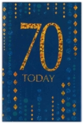 GREETING CARDS,Age 70 Male 6's Blue & Gold