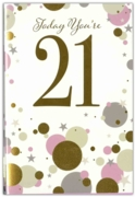 GREETING CARDS,Age 21 Female 6's Gold & Pink Dots