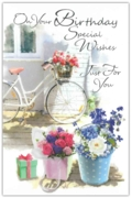 GREETING CARDS,Birthday 6's Floral Bicycle