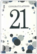 GREETING CARDS,Age 21 Male 6's Silver & Blue Dots