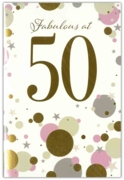 GREETING CARDS,Age 50 Female 6's Gold & Pink Dots