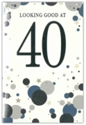 GREETING CARDS,Age 40 Male 6's Silver & Blue Dots