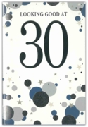 GREETING CARDS,Age 30 Male 6's Silver & Blue Dots