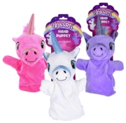 HAND PUPPETS,Unicorns 25cm 3 Assorted H/pk