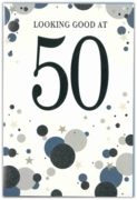 GREETING CARDS,Age 50 Male 6's Silver & Blue Dots