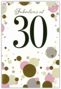 GREETING CARDS,Age 30 Female 6's Gold & Pink Dots