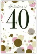 GREETING CARDS,Age 40 Female 6's Gold & Pink Dots