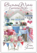 GREETING CARDS,Birthday 6's Floral Kitchen