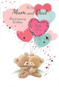 GREETING CARDS,Mum & Dad 6's Teddies with Heart Balloons