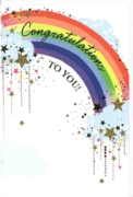 GREETING CARDS,Congratulations 6's Rainbow & Stars