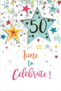 GREETING CARDS,Age 50 Unisex 6's Falling Stars