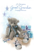 GREETING CARDS,Great Grandson Congrats.6's Teddy & Shoes