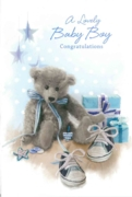 GREETING CARDS,Baby Boy 6's Teddy & Shoes