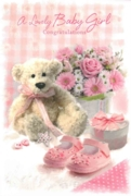 GREETING CARDS,Baby Girl 6's Teddy & Shoes