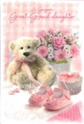 GREETING CARDS,Great Grandd'tr Congrats.6's Teddy & Shoes